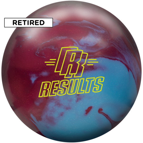 Retired results solid bowling ball with red and light blue